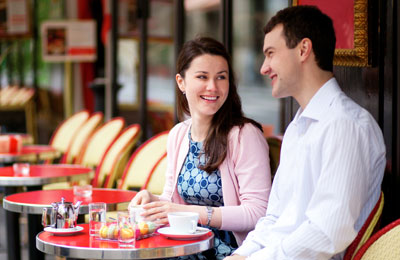 Couple enjoying a coffee in Amsterdam