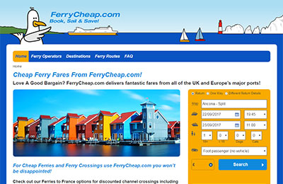 AFerry affiliate booking engine example