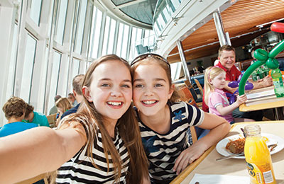 Children enjoying the onboard restaurant