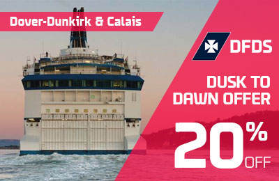 20% off from Dusk to Dawn with DFDS: Dover-Calais & Dunkirk routes.