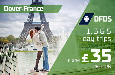 Dover-France 1, 3 & 5 day trips from £35 return.