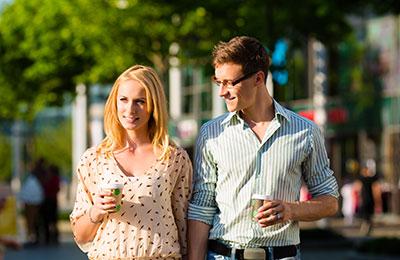 Couple enjoying a walk around Amsterdam
